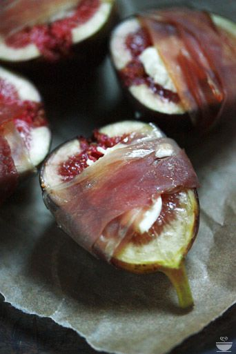 Stuffed Figs – goat cheese, wrapped in prosciutto, roasted, and ...
